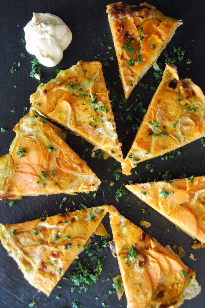 Sweet Potato Tortilla Espanola with Gremolata and Saffron Aioli // Keeping Willow